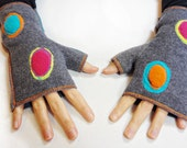 Mod Xmittens Gloves, Fingerless gloves, One of a Kind, Applique Design, size MEDIUM