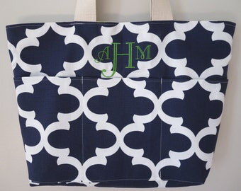 Teacher Tote Bag, REVERSIBLE, Peacock Feathers & Quatrefoil, Monogrammed, Large with Pockets