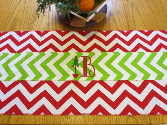 Christmas Table Runner in Chevron Monogrammed