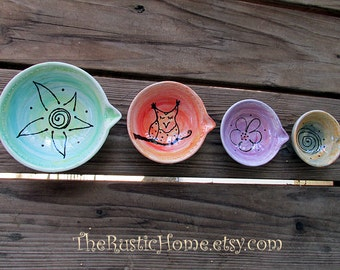 Pottery custom measuring cups baking cooking prep bowls set of 4