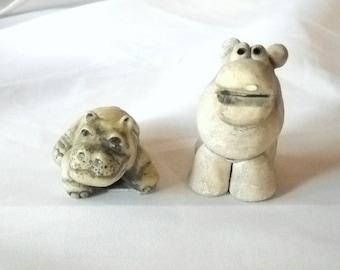 Vintage Hippopotamus Pottery Hippos Vintage Figurines Hippopotamus