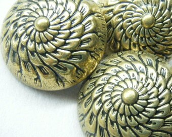 Vintage buttons, flower buttons, large buttons, dahlia flower, set of 4