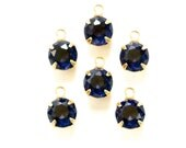 Vintage Faceted Sapphire Blue Glass Stone 1 Loop Brass Setting Drops rnd001P