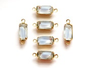 Vintage Soft Blue Givre Glass Octagon in 2 Loop Brass Setting 10x5mm (6)  oct009B2