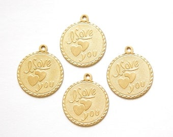 Raw Brass I Love You w/ Hearts Word Charm Drop with Loop (4) chr187RR