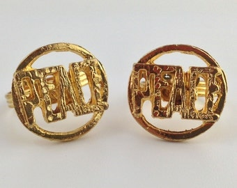 Gold Tone Peace Word Rings Adjustable mtl171
