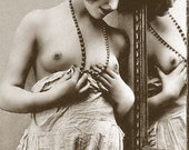 Old Vintage Antique Art Deco c1900's Nude Naked Lady Black and White Photo Reprint 7X5