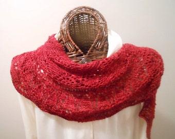 Crimson Clover Hand-Knit Lace Scarf