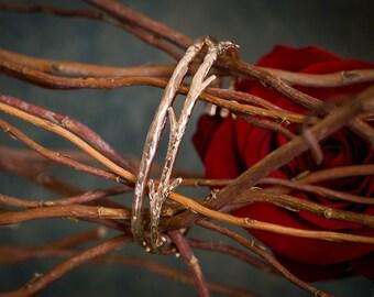 14k Rose Gold Twig Cuff Bracelet | Stacking Bracelets | Nature Inspired Bracelets