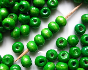 8mm Green Wood Beads - Over 100 - 8mm Bright Green Wooden Beads, Green Round Beads, 8mm Green Beads, Small Green Beads,Lead Free (WBD0022)