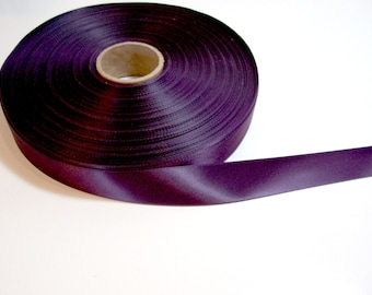 Purple Ribbon, Double-Faced Eggplant Satin Ribbon 7/8 inch wide x 10 yards