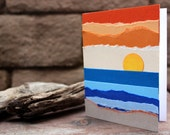 Beach Sunset Torn Paper Art Blank Card