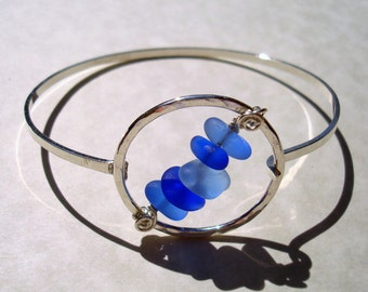 Sea Glass Open Bangle Bracelet -Shades of Blue Seaglass Sterling Silver Jewelry