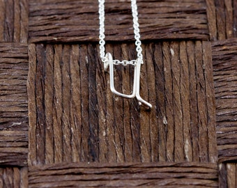 Sterling Silver Wire Wrapped Initial Pendant and Necklace - Letter U