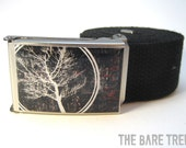 Bare Tree Apparel Circle Bare Tree on Matte Buckle with  Black cotton web Belt