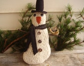 Primitive Hooked Rug Snowman Doll