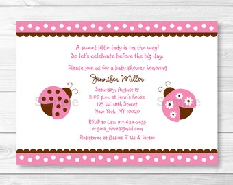 Pink Ladybug Baby Shower Invitation PRINTABLE