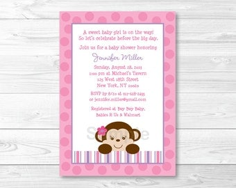 Girl Monkey Baby Shower Invitation PRINTABLE