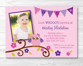 Cute Pink Owl Birthday Invitation / Owl Birthday Invite / Owl Birthday / Pink & Purple / 1st Birthday / 2nd Birthday / Any Age / PRINTABLE