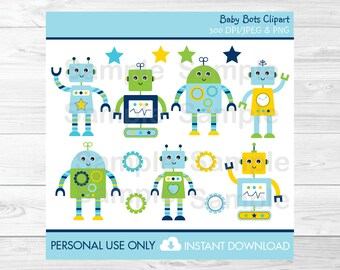 Robot Clipart / Baby Bot Clipart / PERSONAL USE Instant Download