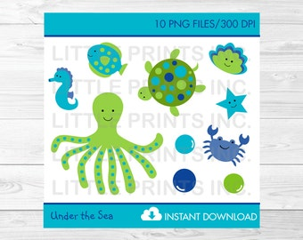 Cute Under The Sea Clipart / Under The Sea Baby Shower / Nautical Clip Art / Nautical Baby Shower / PERSONAL USE Instant Download