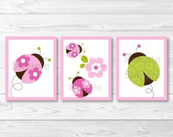 Cute Ladybug Nursery Wall Art / Ladybug Wall Art / Pink & Green Ladybug / Ladybug Nursery Theme / Baby Girl / PRINTABLE Instant Download