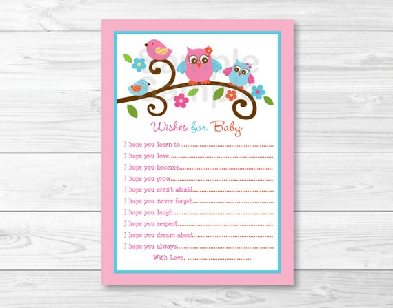 Sweet Lil Owl Pink Love Birds Printable Baby Shower Wishes for Baby Advice Cards
