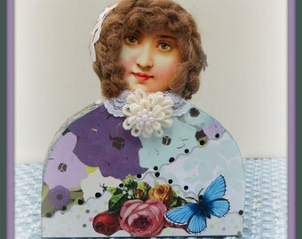 Lacy Handmade Mixed Media Victorian Collage Shelf Sitter Art Doll Decoration
