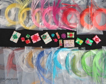 Vintage Self Sticking Ribbons in 19 colour choices to make bows for Dollhouse Miniatures, VT039