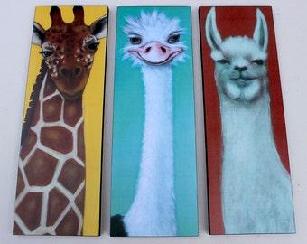 Llama Ostrich Giraffe - Animal Art Print - Kids Wall Decor - Print of Acrylic Painting