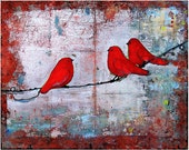 Three Little Birds, Art Print, Ruby Red Birds on a Wire, Fine Art Print, Wall Decor, Fresh Trends, Optional Mat