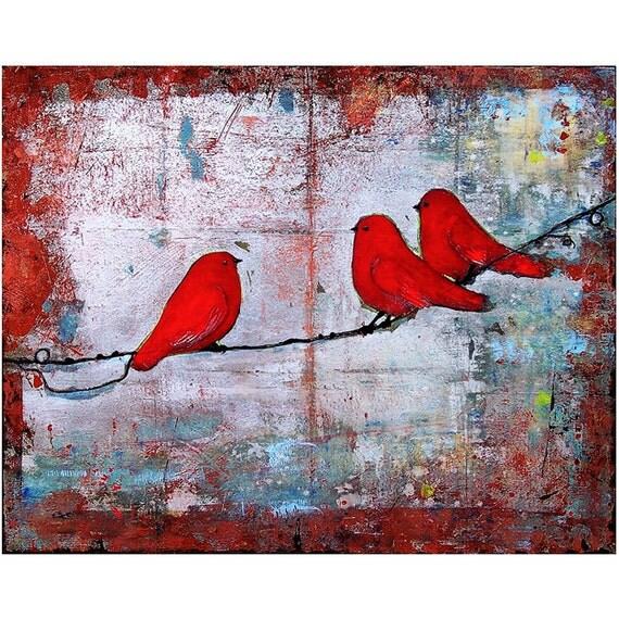Wall Art 3 Line Of Birds : Three little birds art print ruby red on a wire fine