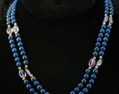 Necklace Dark Blue Two Strand Glass Bead Necklace with Amethyst Accents Vintage