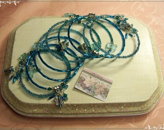 Turquoise Butterfly and Crystal Memory Wire Bracelet