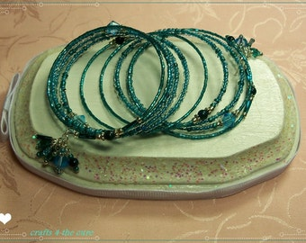 Fun Turquoise Crystal Memory Wire Bracelet