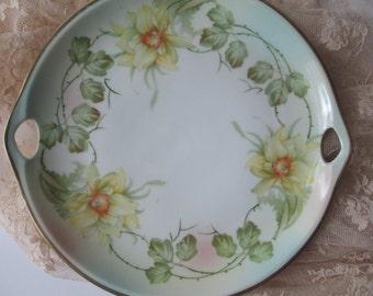 Antique German Three Crown China Handled Platter