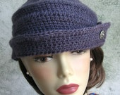 Womens Crochet Hat Pattern Vintage 1940s Style Brimmed Bowler With Button Trim Instant Download May Resell Finished