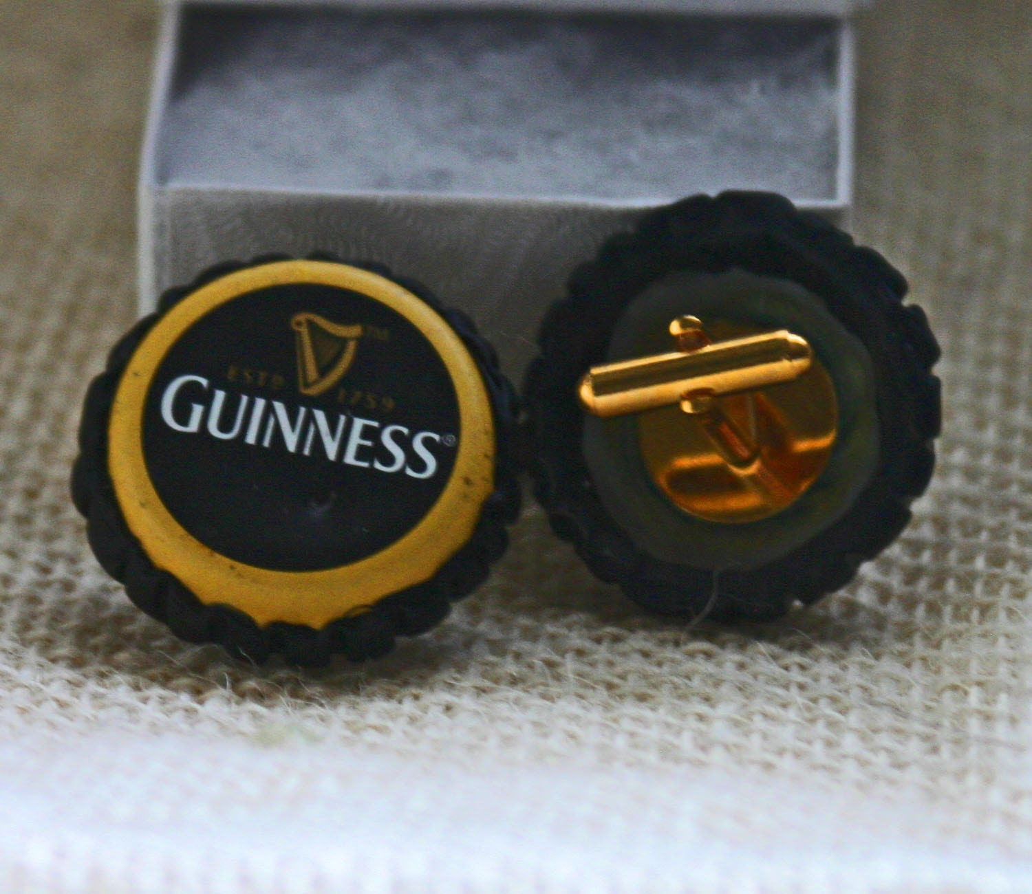 Recycled guinness beer bottle cap cuff links golden yellow - Beer bottle caps recyclable ...
