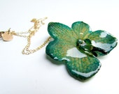Real Preserved Orchid Necklace, Flower, Miniature, Orchid, Chain, Gold, Emerald Green, Bohemian Jewelry, Boho,  Bridesmaid Gift, Flower Girl