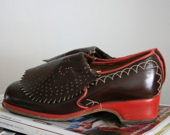 BROWN and RED leather SHOES, size 36,5