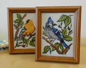 Vintage Framed Bird Needle Craft - Set of Two