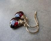 Garnet Gold Earrings, Wire Wrapped, Garnet Earrings, Red, Cranberry, Irisjewelrydesign