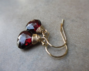 Garnet Gold Earrings, Wire Wrapped, Garnet Earrings, Red, Cranberry, Irisjewelrydesign