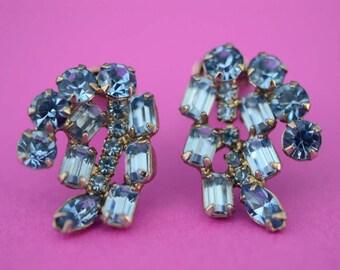 Vintage Blue Rhinestone Costume Jewelry Clip On Earrings