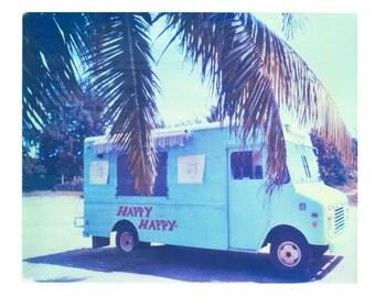 "Tropical Art Polaroid Happy Food Truck Puerto Rico Palms Matt Schwartz Print 8""x10"""