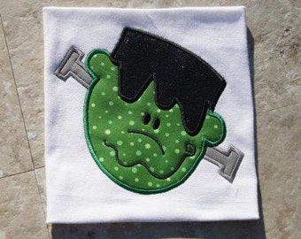 Halloween Frankenstein Face Applique design - Machine Embroidery Design - INSTANT DOWNLOAD jef exp dst sew vip hus pes