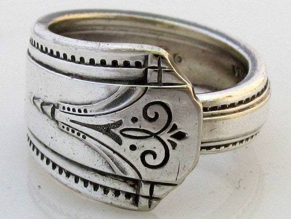 Art Deco Spoon Ring Size 9 Mighty Thor 1933 Silverware
