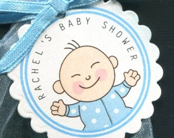 Personalized Baby Shower Favor Tags, baby boy with dotted sleeper, set of 50