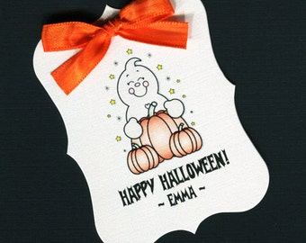 Large Personalized Halloween Favor Tags, ghost with pumpkin, set of 25