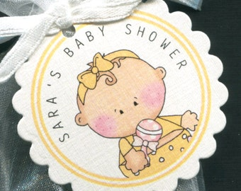 Personalized Baby Shower Favor Tags, baby girl with yellow outfit, set of 25 round scallop tags
